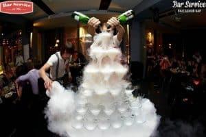 đá khói trong tiệc cưới