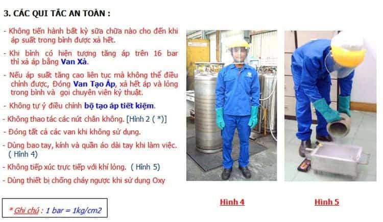 Quy tác an toàn sử dụng bình xl45